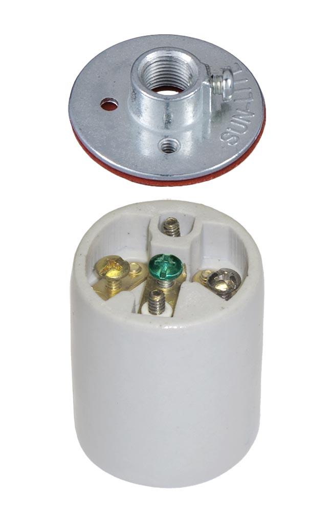 Keyless Porcelain 3 Terminal Socket With Ground Screw