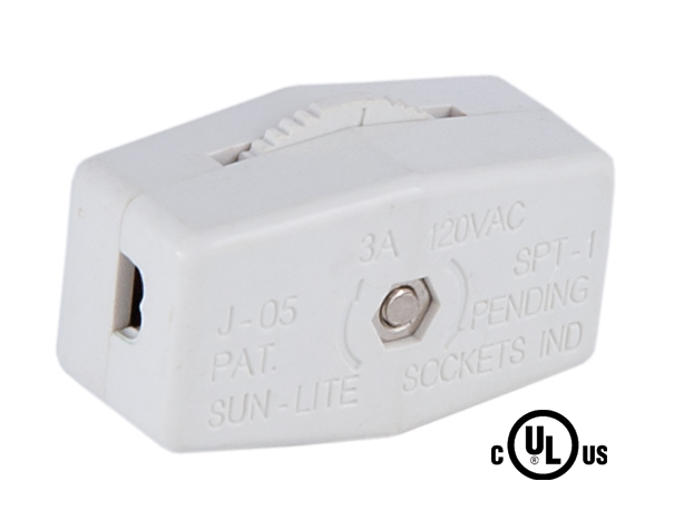 White Silver Inline Rotary Switch 48433 B Amp P Lamp Supply