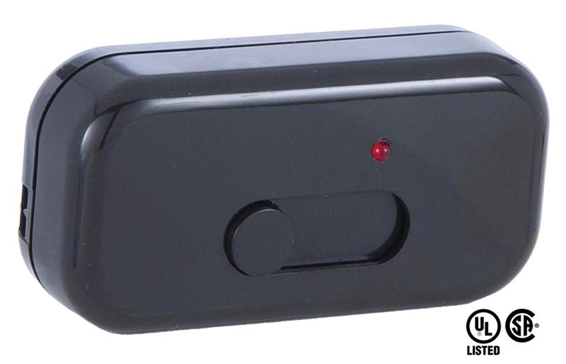 Black Lutron Inline Cord Slide Dimmer Switch 48466bk B P