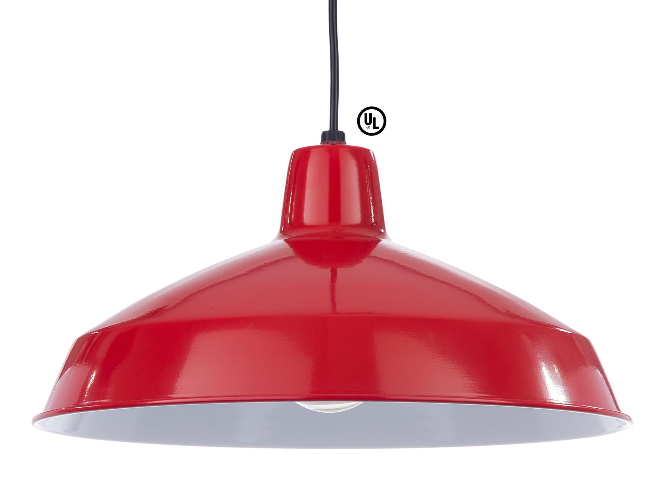 Industrial Style Metal Light Shade Pendant With Red Finish