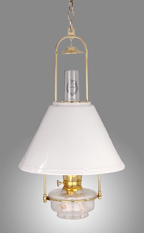 View image in new window 69652s aladdin brand deluxe glass hanging lamp