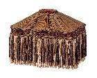 Copper and Brown Color Bridge UNO Victorian Pleated Fringed Lamp Shades