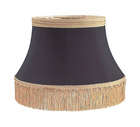 Black Floor Lamp Shallow Drum Shade - Tissue Shantung