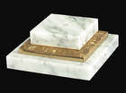 3-Piece White Marble & Brass Base