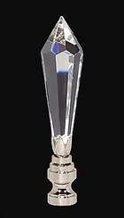 "3 1/2"" Lead Crystal Finial w/Nickel Finish Base"