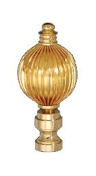 "2 1/2"" Polished Brass Reeded Finial"