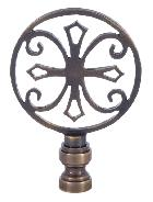 Antique Brass Lamp Finial with Cross
