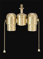 2-lite Cluster w/Pull-chain Sockets, Polished Brass