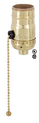 3-way Pull Chain Leviton Polished Brass Socket