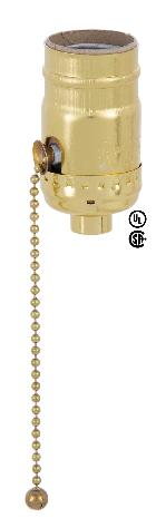 Pull Chain Leviton Brass Plated Socket