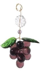 "3 1/2"" Amethyst Glass Grape Cluster w/Leaves"