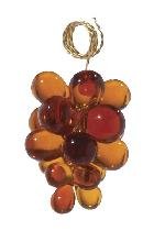"2"" Amber Glass Grape Cluster - Hand Made"