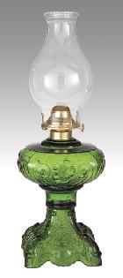 "Dark Green ""Princess Feather"" Kerosene Oil Lamp"