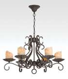 Iron 6-Light Fixture w/Antique Gold Candle Covers