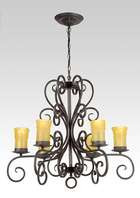 "Iron 6-Light Fixture w/Gold ""Melting"" Candle Covers"