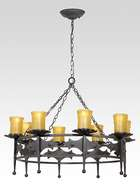 Iron 8-Light Fixture w/Mission Style Motif